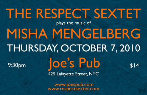 The Respect Sextet play the music of Misha Mengelberg at Joes Pub